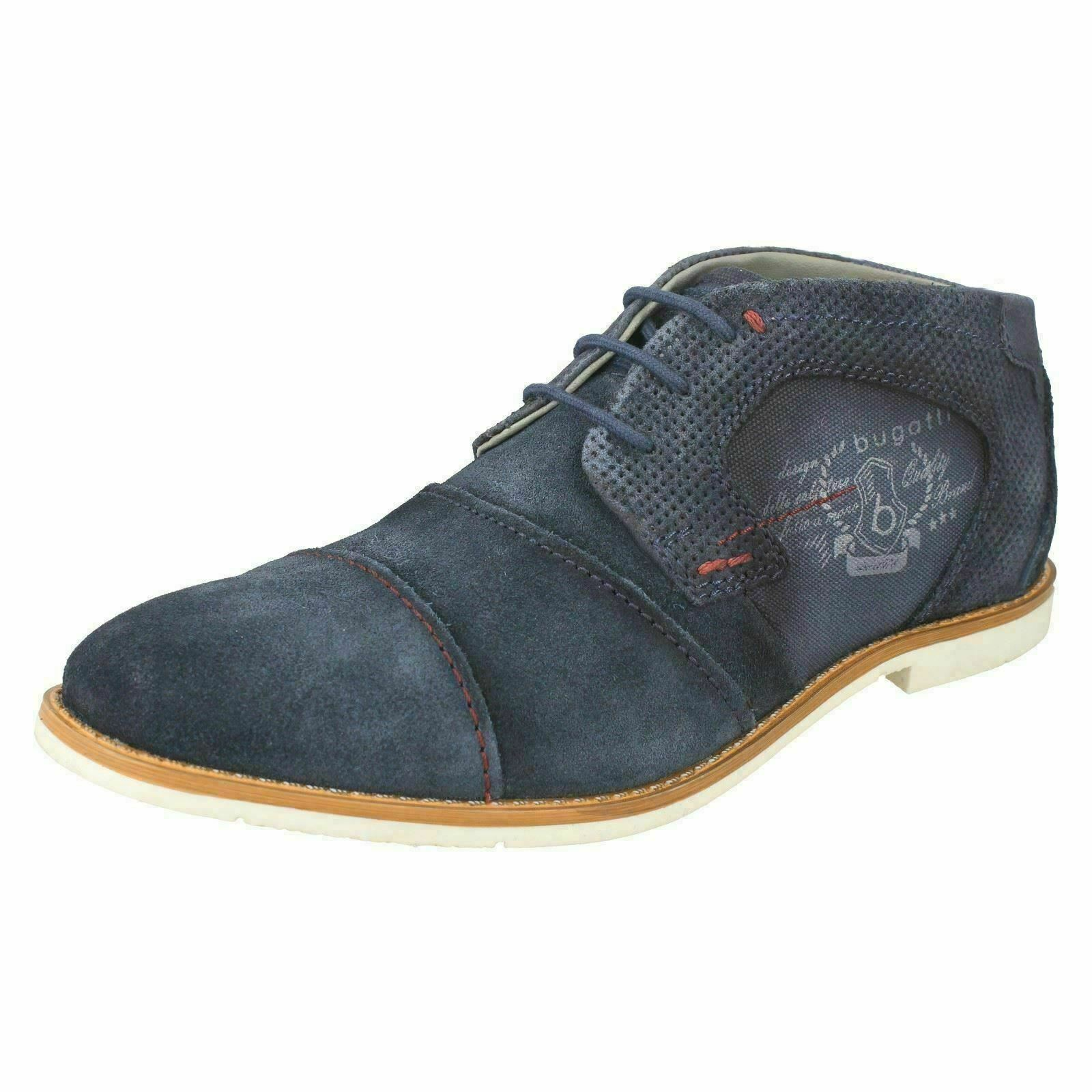 Bugatti Men with Leather shoeslaces, Casual Navy Flats Boots 313 11115