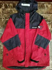 Tommy Hilfiger Vintage Parka Jacket Reflective sz L Flag Windbreaker Hoodie VTg