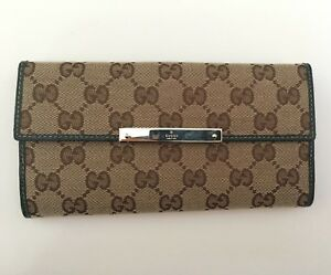 232f996c4ef4 Image is loading Authentic-Gucci-Beige-Green-GG-Canvas-Continental-Long-