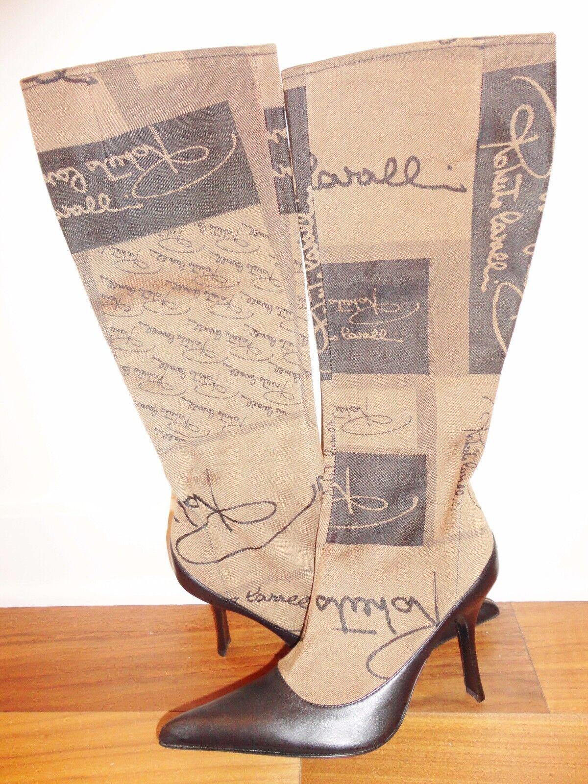 Nuevas botas de cuero marrón de Roberto Cavalli Italia Edición Limitada 100% Auténtico