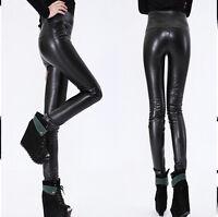 Sexy Glanz Leggings schwarz Leder Look Leggins High Waist Hose XS S 34 36 38 NEW
