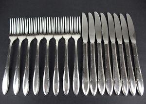 16-Pc-Grille-Knife-Fork-Set-Oneida-Nobility-Plate-Reverie-1937-vintage