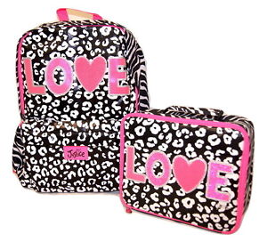 Justice Girls Backpack Lunch Box Set Cheetah Love So Fun