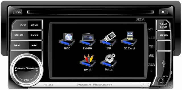 "POWER ACOUSTIK PD-450 CAR 4.5"" TOUCHSCREEN TFT LCD MONITOR DVD/CD/USB/AUX PLAYER"