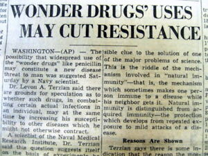 1950 newspaper MEDICAL DOCTOR WARNS of BACTERIA RESISTANCE to ANTIBIOTIC USE