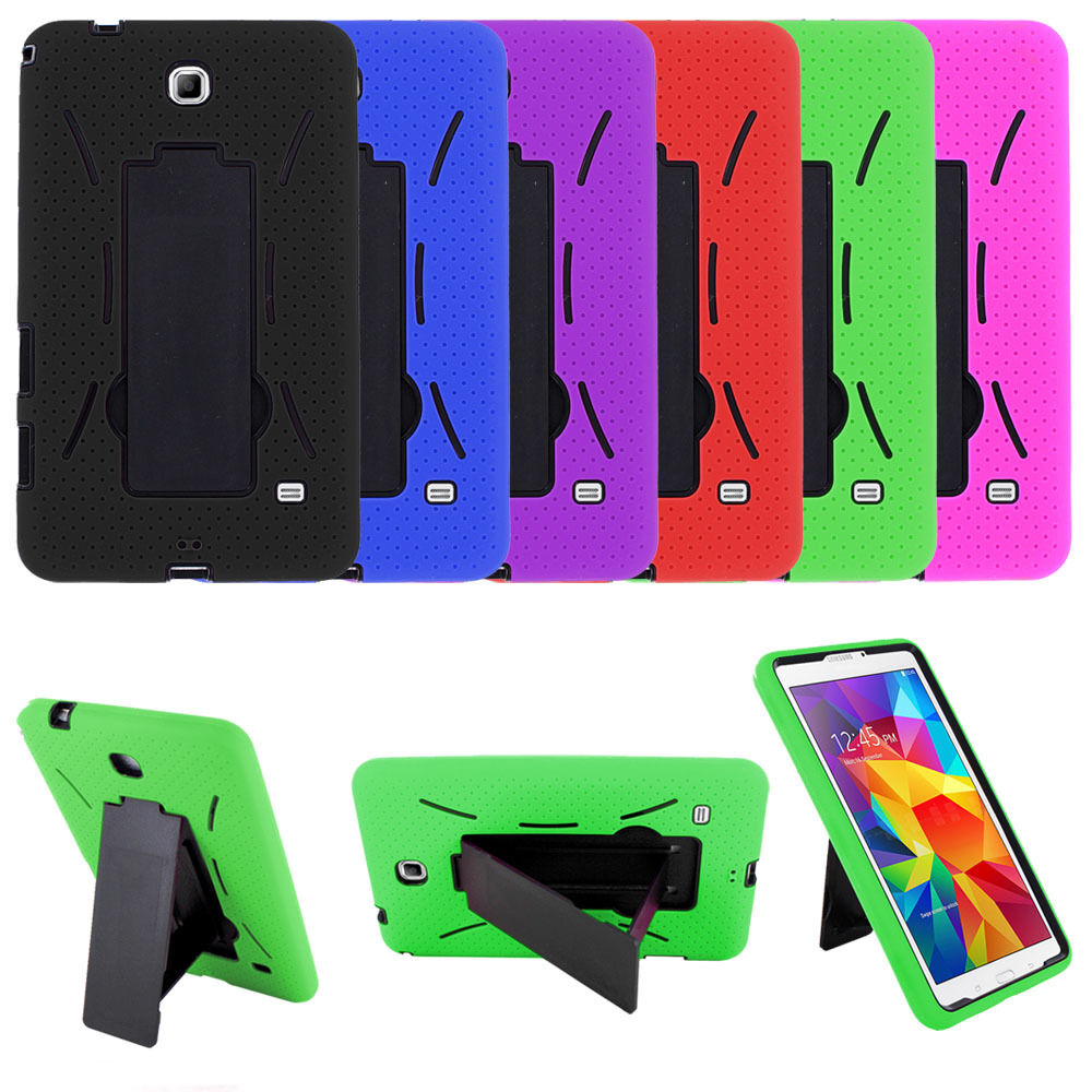 Heavy Duty Hybrid Silicone Cover / Hard Case w/ Stand for Samsung Galaxy Tablet