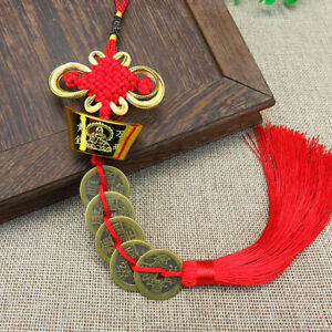 Chinese-Feng-Shui-Red-String-Wealth-Lucky-Coin-Charm-Pendant-Knot
