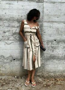 Zara-Midi-Linen-Printed-Long-Flowing-Dress-SIZE-XS-S-M