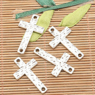30pcs tibetan silver color 2sided corss conector design  H1112
