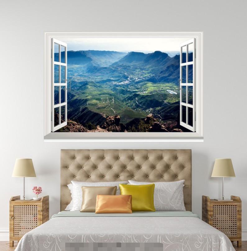 3D Mount Grün 627 Open Windows WallPaper Murals Wall Print Decal Deco AJ Summer