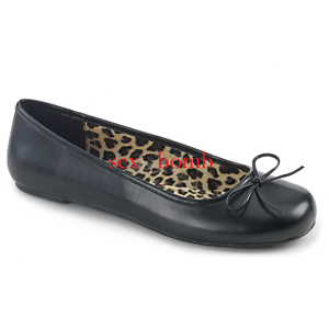 Descuento barato Sexy BALLERINE dal 39 al 46 NERO OPACO fiocchetto tacco flat scarpe GLAMOUR