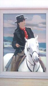 """Lavergne """" La cavalière"""" Peinture signée. Lavergne """"The rider"""" équitation cheval"""