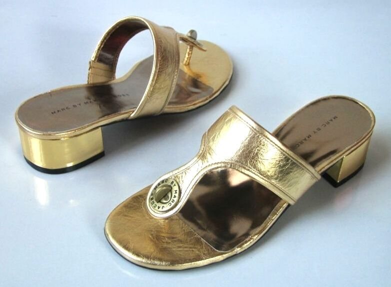 New MARC JACOBS gold leather mules TURNLOCK logo thong slides shoes