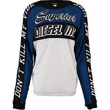New DIESEL Blue & Black Long Sleeve Jersey T-shirt XL Gold Fit