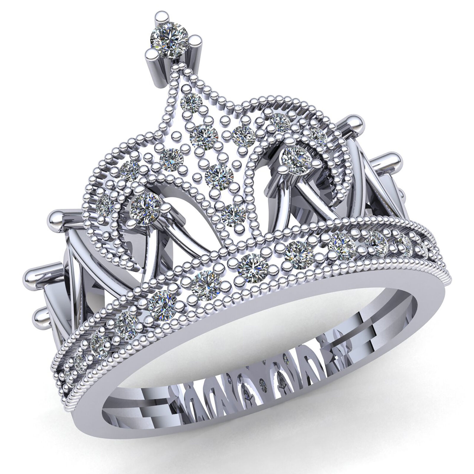 Genuine 0.5ctw Round Cut Diamond Ladies Crown Bridal Engagement Ring 14K gold