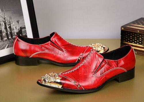 Stylish Mens Leather Slip On Dress Formal Metal Pointed Toe Nightclub Shoes Size