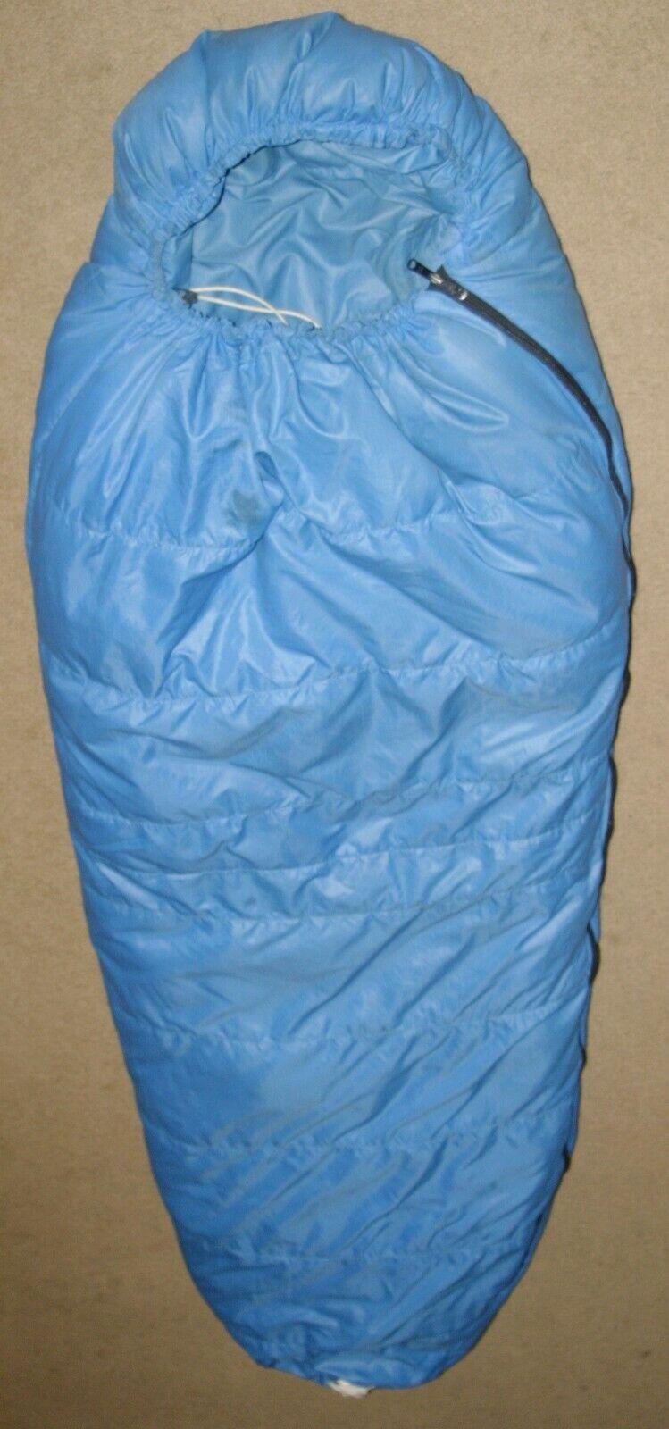 Antiguo North Woods USA Norte de plumas de ganso Momia Saco de Dormir Azul 84  limpio GUC