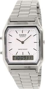 Casio-AQ-230A-7D-White-Men-039-s-Stainless-Steel-Digital-Analog-Alarm-Watch-New