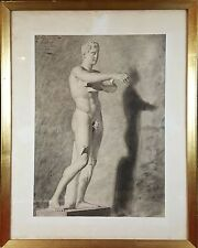 CHARCOAL DRAWING ON PAPER. SCULPTURE MALE. MODESTO TEIXIDOR. XIX CENTURY.