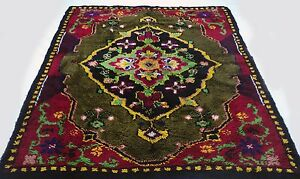 Antique-vintage-Turkish-handmade-hand-knotted-thick-rug-62-034-x-83-034-pure-wool-12