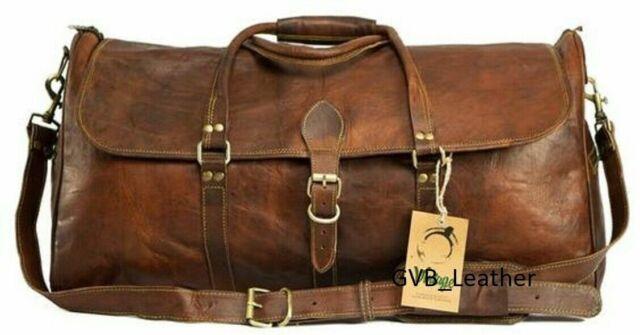 Vintage random Genuine Leather Holdall Travel Weekend Cabin Sports Duffel Bag