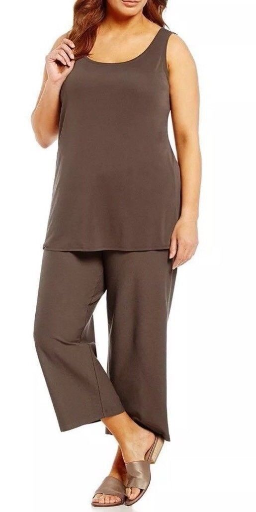 Eileen Fisher Cobblestone Washable Stretch Crepe Wide Cropped Pants 1X NWT  178