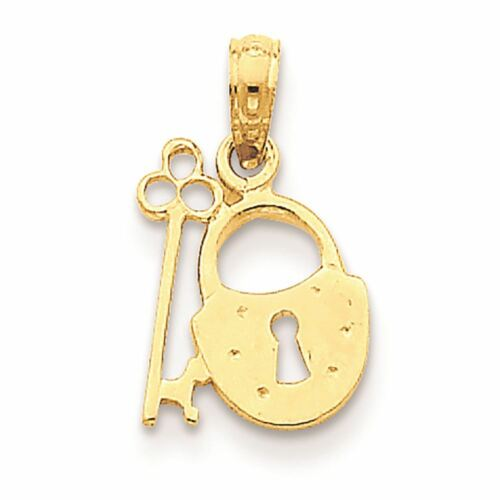 14K or jaune cadenas et Charm Clé Pendentif fabricants Standard prix de détail $106