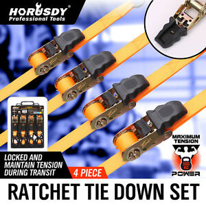 4PC-Ratchet-Tie-Down-Strap-25mm-x-5m-Cargo-Trailer-Roof-Rack-Motorcycle-Packing