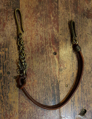 Handmade Bronze Wallet Chain With Clip Snake Box Chain Brass