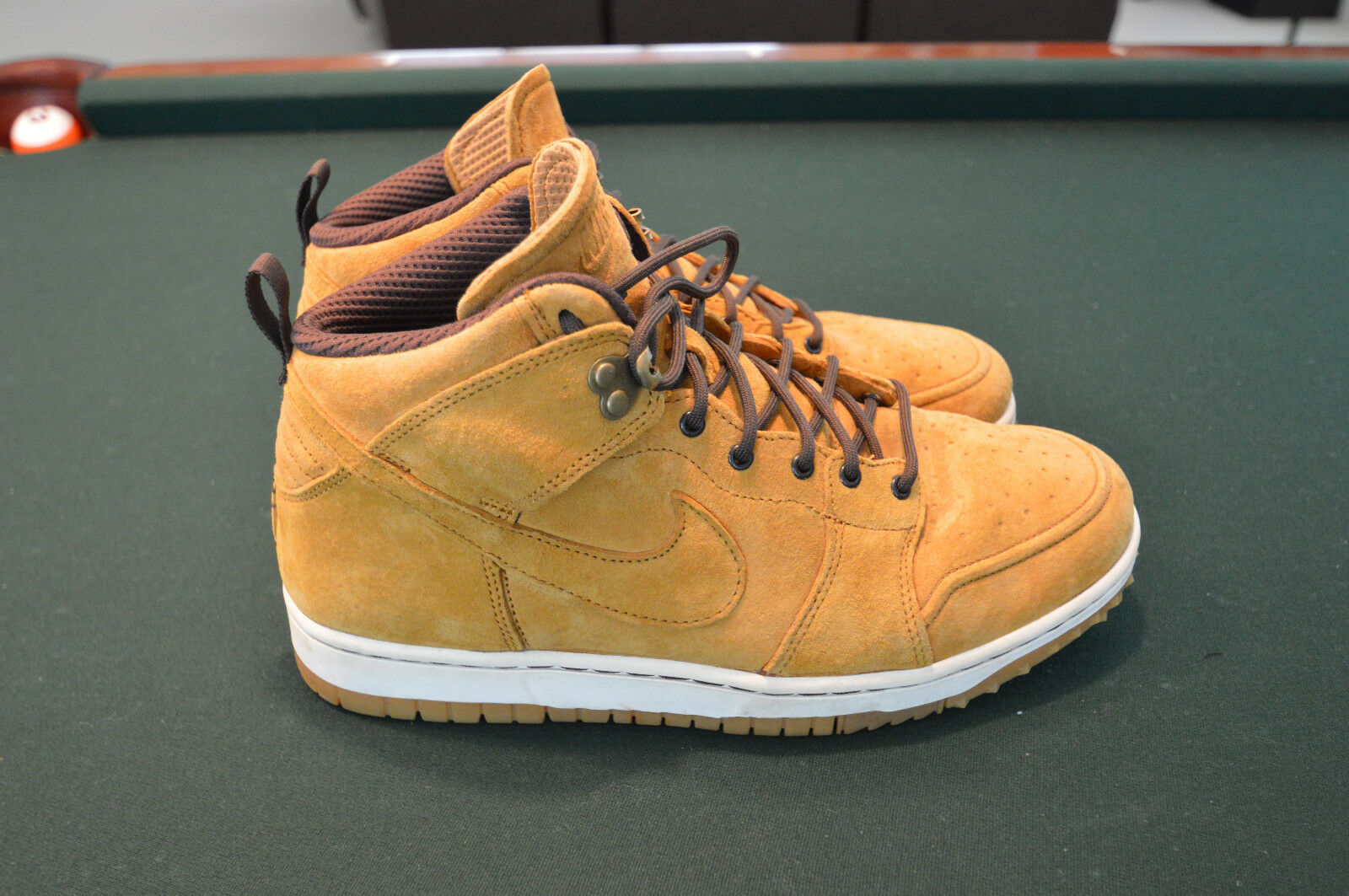 Nike Men's High Dunk sneakers size 10. Lightly worn tan suede tops.