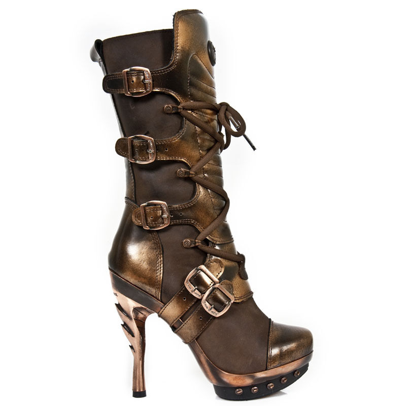 New Rock señora botas Gothic marrón m. punk 001-c10 30 días
