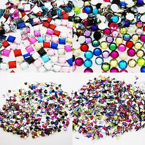 1000-Rhinestones-Acrylic-Gems-TEAR-DROP-SQUARE-HEARTS-ROUND-DIAMOND-craft-bead