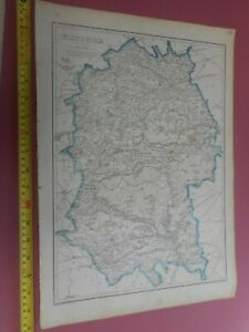 100-ORIGINAL-LARGE-WILTSHIRE-MAP-BY-WELLER-CASSELL-C1863-RAILWAYS-VGC