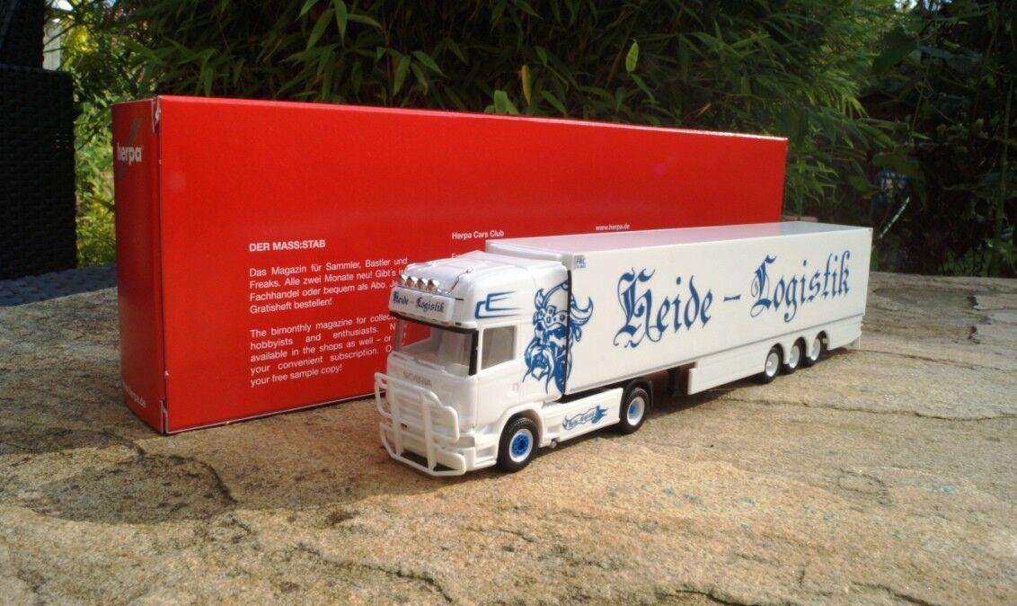 Herpa Scania R TL Kühlkoffer-semi-remorque  Heide Logistique  Nouveau Neuf dans sa boîte 1 87 307833