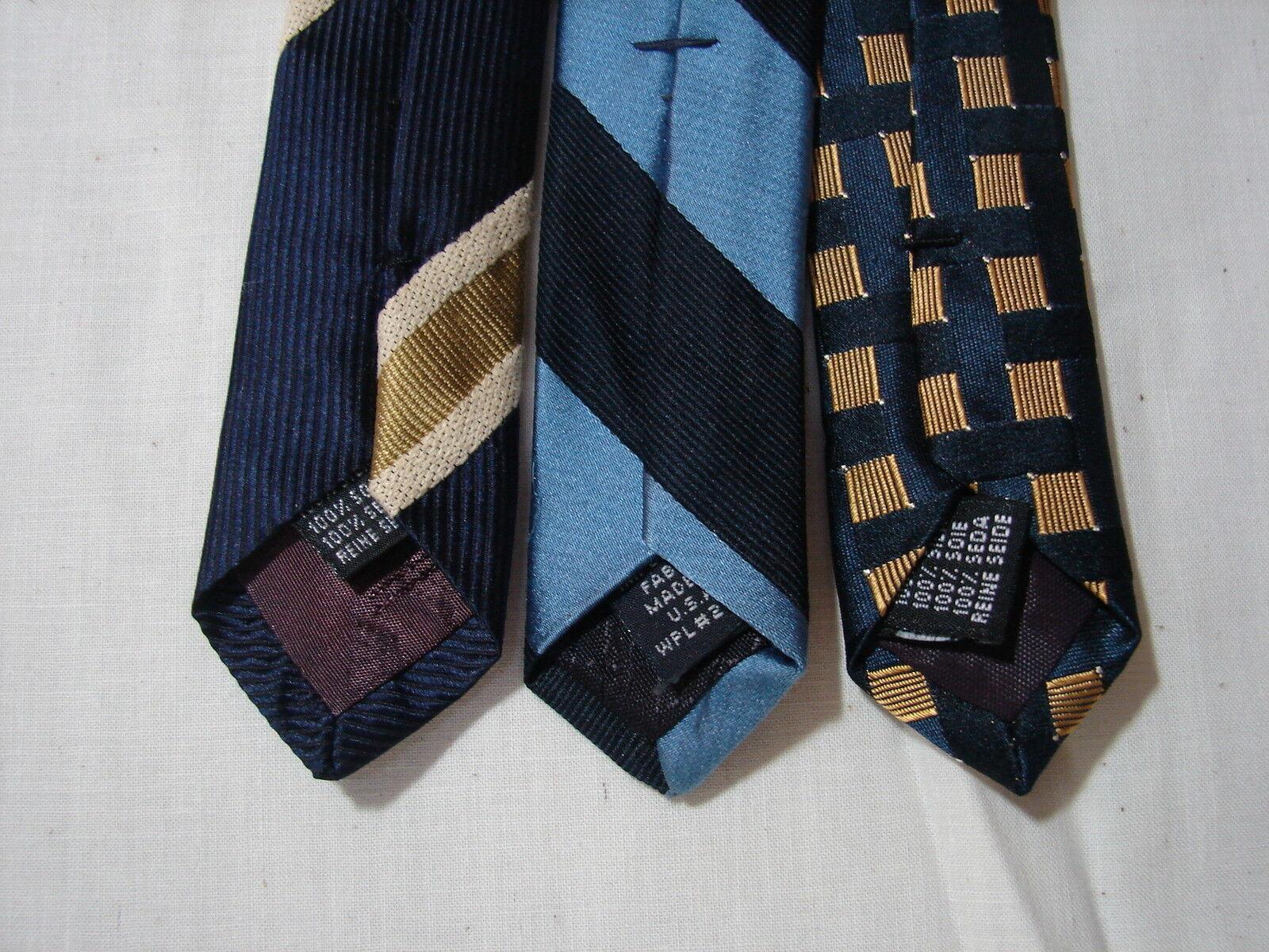 #49 Menge Von 3 Designer100 % Seide Blau Krawatten Pistolenhalfter & Nautica