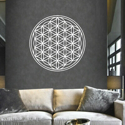 Flower Of Life Overlapping Circles Grid Wall Home Decor White Sticker Art Decal Ebay