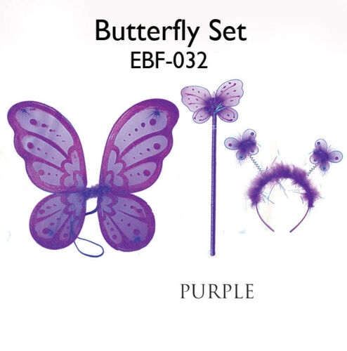 """16/""""x16/"""" FAIRY ANGEL BUTTERFLY WINGS Infant Toddler enfant costume 3 Pcs Violet"""