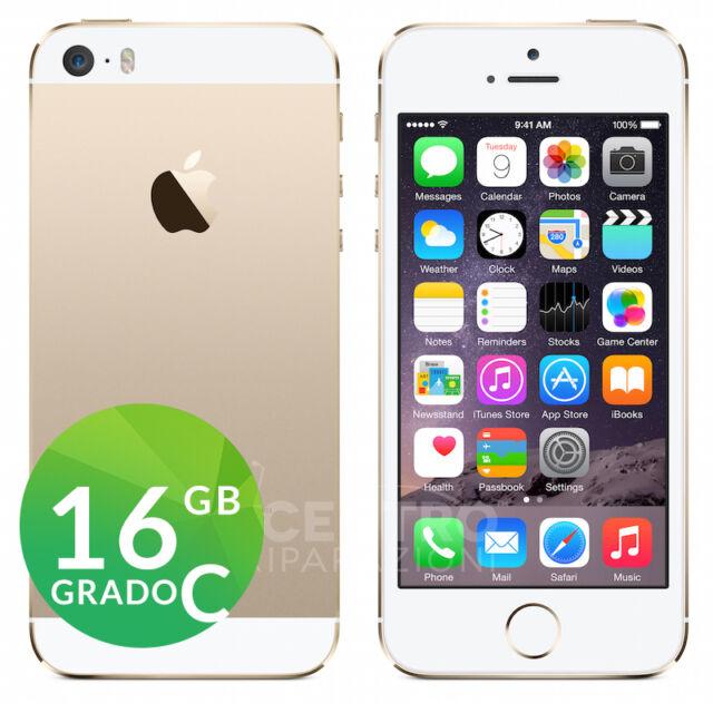 APPLE IPHONE 5S 16GB ORO GOLD BIANCO GRADO C RIGENERATO RICONDIZIONATO USATO