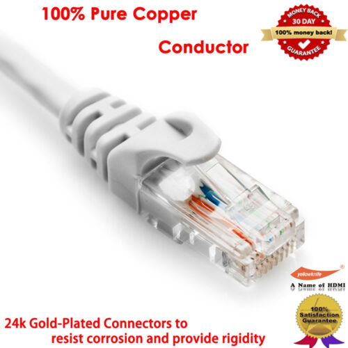 50FT 100FT Gold CAT5E CAT5 RJ45 Ethernet Internet Network Patch Lan Cable Cord