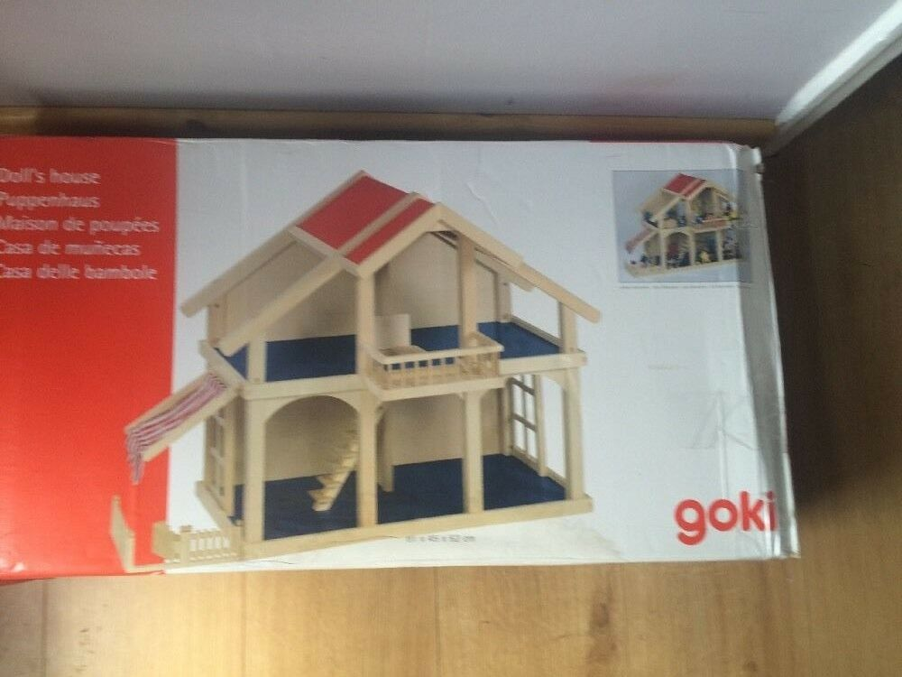 PORTICO Casa delle bambole Goki giocattoli in legno Doll House 2 piani