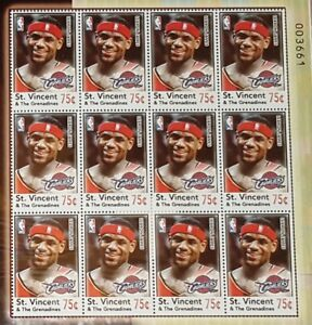 ab18db70c48 Image is loading 2005-LEBRON-JAMES-23Postage-Stamps-qty-12-Sheet-
