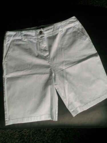 Stretch Cotton White Mid Thigh Length Summer Shorts