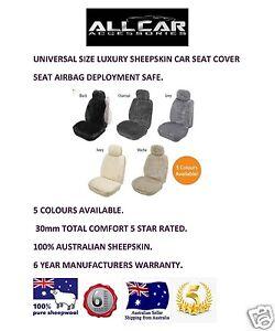 1 x Sheepskin Car Seatcover, 30mm Total Comfort, Seat Air bag Safe.