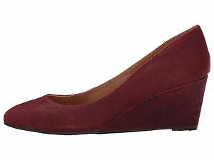 dc13ed2009 NIB $79 New NINE WEST Ispy Genuine LEATHER Dark RED Wedges Heels ...