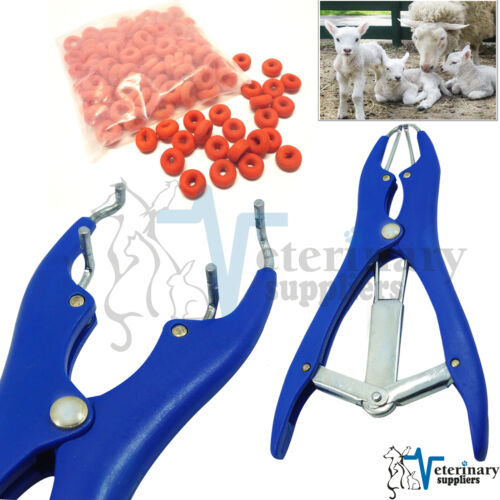 100 RINGS ELASTRATOR Castrating PLIER Rubber Ring Applicator CASTRATOR Docking
