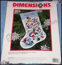 Dimensions SNOW FOLK FUN STOCKING Snowmen Needlepoint Christmas Kit –Bill Bell