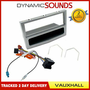 Single-Din-Stereo-Fascia-Facia-Fitting-Package-Kit-Silver-for-Vauxhall-Astra-H