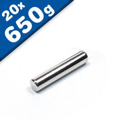 Haftkraft 650g NdFeB 20 x Stabmagnet Magnet-Stab Ø3 x 15mm Neodym N40 Nickel