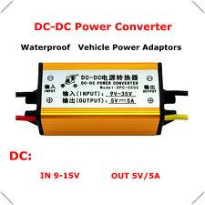 Waterproof 12V/24V to 5V 5A DC-DC Voltage Converter Buck Module Car Regulator