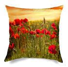 Cuscino Decorativo D'arredo Grande 60x60 Papaveri Rosso Arancio Digitale Caleffi